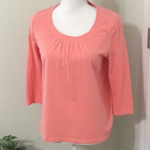 Talbots 🍊Peach cotton scoop neck 3/4 sleeveblouse